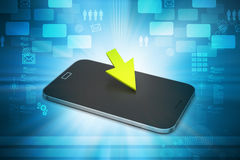 Smart phone with arrow sign Stock Image