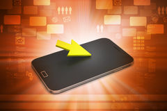 Smart phone with arrow sign Royalty Free Stock Photos
