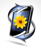 Smart phone with arrows. A three-dimensional illustration of a smart phone or mobile internet device, surrounded by arrows royalty free illustration