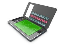 Smart phone as football field, watch online, bet online concept, 3d Illustration. Smart phone as football field, watch online, bet online concept, 3d stock illustration