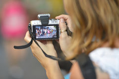 Smart phone, athletes, picture Stock Image