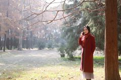Smart phone Autumn woman talking on mobile in fall. Smart phone Autumn woman talking on mobile phone in fall. Autumn girl having smartphone conversation in sun Stock Image
