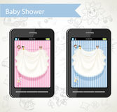 Smart phone with a baby shower cards to choose Royalty Free Stock Image
