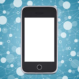 Smart phone on a background lattice social network Royalty Free Stock Image