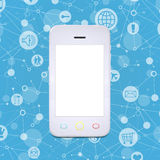 Smart phone on a background lattice social network Stock Photo
