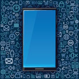 Smart Phone on Background from Media Icons. Royalty Free Stock Images