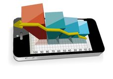 Smart phone with bar chart Royalty Free Stock Photos
