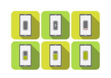 Smart Phone Battery Level Icon Green tone Vector illustration Stock Photography