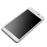 Smart Phone bianco con lo schermo nero isolato su fondo bianco Immagini Stock Libere da Diritti
