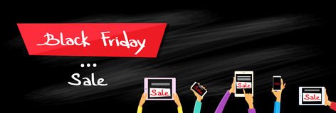 Smart Phone Black Friday del computer della compressa della mano Fotografia Stock