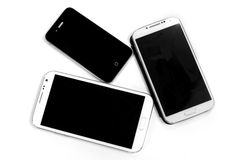 smart phone black and white different size isolate background Stock Photo