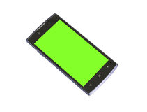 Smart phone with blank, green screen Royalty Free Stock Image