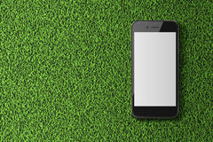 Smart phone with blank screen on green grass background. Stock Image