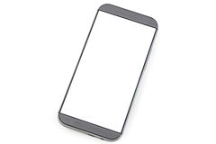 Smart phone with blank screen isolated on white Stock Image