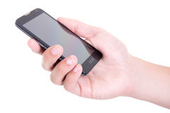 Smart phone with blank screen in male hand isolated on white Royalty Free Stock Image