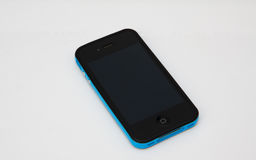 Smart phone with blue case Stock Photo