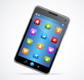 Smart Phone With blue screen and icons Stock Photo