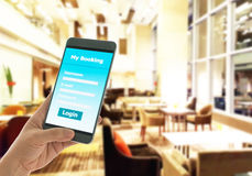 Smart phone Booking Stock Photography