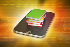 Smart phone with books Royalty Free Stock Image