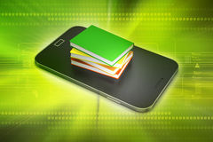 Smart phone with books Stock Image