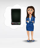 Smart phone in bubble idea concept of woman in suit  Stock Photography