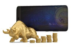 Smart phone with bull and gold coin stacks on white background.3. D illustration stock photos
