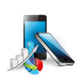 Smart phone and business graphs Stock Images