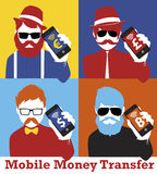 Smart phone business man. Smart phone Money businessman. Hipster & pop style Stock Images