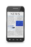 Smart phone with business news article. 3d illustration of modern smart phone with business news article Royalty Free Stock Image