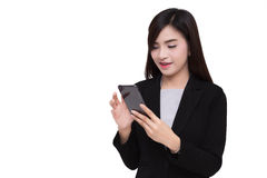 Smart phone with business woman. Royalty Free Stock Photos