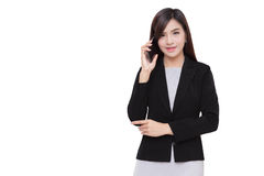 Smart phone with business woman. Stock Images