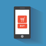 Smart phone with buy button on the screen Royalty Free Stock Photos