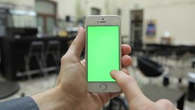 Smart Phone on Cafe w-various Hand Gestures. Vertical, Close Up - Green Screen stock video