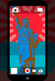 Smart phone camera with the statue of liberty, vector illustration. Smart phone camera in front view from statue of liberty Royalty Free Stock Photos