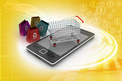 Smart phone carrying the shopping trolley Stock Image