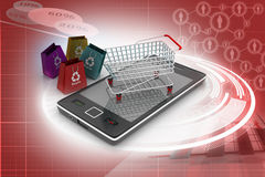 Smart phone carrying the shopping trolley Royalty Free Stock Photo