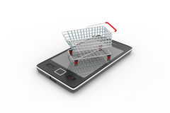 Smart phone carrying the shopping trolley Stock Photography