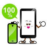 Smart phone cartoon 013. Mobile phone, Smart phone cartoon with battery on isolated white background Royalty Free Stock Images