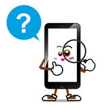 Smart phone cartoon 007. Mobile phone, Smart phone cartoon searching on isolated white background Stock Images