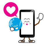 Smart phone cartoon 006. Mobile phone, Smart phone cartoon with smile world on isolated background Stock Photography