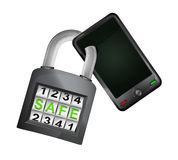 Smart phone caught in security closed padlock isolated vector Stock Photography