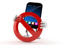 Smart phone character with forbidden sign. Isolated on white background Stock Photo