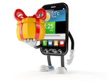 Smart phone character holding gift Stock Images