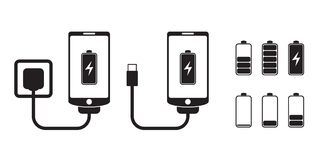 Smart phone charge with battery indicator level, vector icons. Smart phone charge with battery indicator level, set of battries, icons, black and white vector royalty free illustration