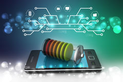 Smart phone charging with battery Royalty Free Stock Photo
