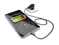 Smart phone charging battery, 3d Illustration. Smart phone charging battery. 3d Illustration isolated white Stock Images
