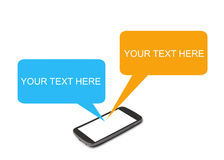 Smart phone chat. Smart phone with blank message chat Royalty Free Stock Images
