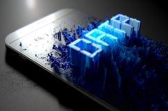 Smart Phone che emana i dati Immagini Stock Libere da Diritti