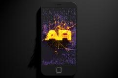 Smart Phone che emana realtà aumentata Fotografie Stock Libere da Diritti