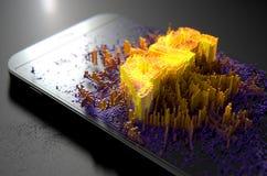 Smart Phone che emana realtà aumentata Fotografia Stock Libera da Diritti